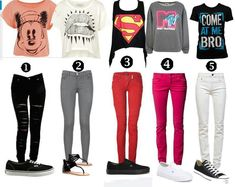 Teen clothes- I love 2 and 3, but change the shoes to converse for 2 x