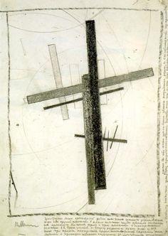 'Étude Suprematis', craie de Kazimir Severinovich Malevich (1879-1878, Russia)