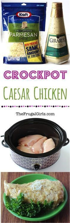 Crock Pot Caesar Chicken Recipe! ~ from http://TheFrugalGirls.com ~ super easy and ridiculously delicious! Go grab your Crockpot… it's hard to resist chicken smothered in decadent Parmesan! Just 3 ingredients!!