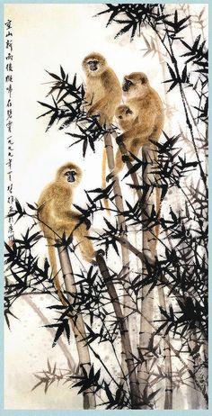 JAPANESE PAINTING  monkey tree bamboo. art. chinese