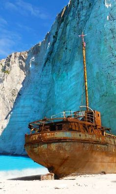 Places I've Been ~ The shipwreck on the famous Navagio beach in Zakynthos island Greece Abandoned Ships, Abandoned Places, Abandoned Castles, Abandoned Mansions, Phuket, Places To Travel, Places To See, Greek Cruise, Zakynthos Greece