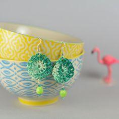 Handmade crochet dangle earrings