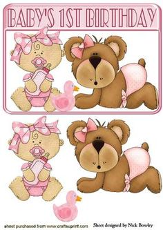 Baby Girl And Teddy! First Birthday Baby Boy Cards, New Baby Cards, Baby Girl Clipart, Image 3d, Baby Shower Souvenirs, Baby Scrapbook Pages, Cute Birthday Cards, Baby Clip Art, Baby Mine