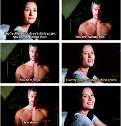 Grey's Anatomy, Lexi Grey and Mark Sloan. Greys Anatomy Funny, Grey Anatomy Quotes, Grays Anatomy, Greys Anatomy Couples, Grey Quotes, Tv Quotes, Funny Quotes, Funny Memes, Book Series