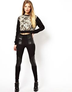 ASOS Leggings in High Waist with Leather Look Panel