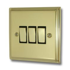 A Deco Polished Brass Light Switch Gang/Brass Switches) available to buy online now at Socket Store British Standards, Polished Brass, Deco, Decoration, Deko, Decor, Dekoration, Interiors, Dekorasyon