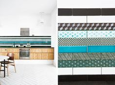 various Made a Mano rectangular tiles with patterns and colors combined to form a color backsplash