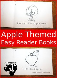 Apple Easy Reader Books - 4 options with single and teacher print $ - with 1 free version - 3Dinosaurs.com