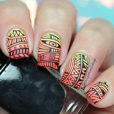 Mandala nail art, using the following: DRK Designer2 XL Stamping plate @drknails  #drknails . Mitty Brush @mitty_burns ✨(with my code ✨bqueen10✨ you can get 10% off in your orders at www.mitty.com.au) . Lemon Fizz, Sun Of a peach and pool party @chinaglazeofficial ✨ . Soft stamper @faburnails  #faburnails . Ya Qui An stamping polish @bornprettystorenailart (With my code FML91 you can get 10% off at www.bornprettystore.com) . ❤️Happy Tuesday❤️