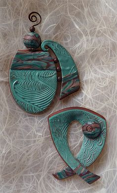 2012 Thing A Day  Day 18 Textured Pin/Pendants by auntgriz, via Flickr