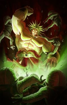 """This is a """"realistic"""" Broly, the legendary super sayajin from Dragon Ball Z destroying some saibamen."""