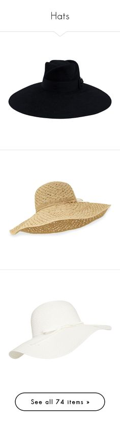 """""""Hats"""" by farradaymg ❤ liked on Polyvore featuring accessories, hats, black, wide brim felt hat, felt trilby hat, wide brim hat, felt hat, gucci hat, natural and wide sun hat"""