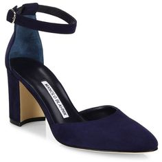 Manolo Blahnik Women's Lausam Suede Ankle-Strap Block-Heel Sandals ($745) ❤ liked on Polyvore featuring shoes, sandals, heels, pumps, navy, navy blue sandals, manolo blahnik sandals, navy heeled sandals, navy block heel sandals and heeled sandals