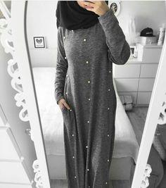 Women Casual Pearl Decorated Maxi Dress/ Abaya with Colors) Islamic Fashion, Muslim Fashion, Modest Fashion, Fashion Outfits, Street Hijab Fashion, Abaya Fashion, Xl Fashion, Modele Hijab, Mode Abaya