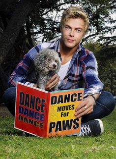 Derek Hough with his poodle, Lady Dog-Ga
