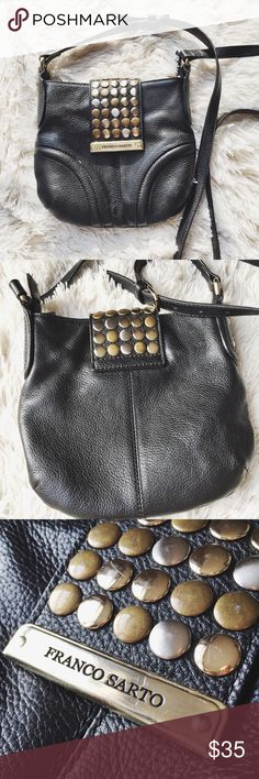 Genuine Leather Studded Cross-body Beautiful studded leather cross body by designer Franco Sarto. It was my go-to small bag for a good while. Shows some minor signs of wear but is still in great condition. Leather and strap are in great shape. Inside, leather trim has come off the lining a bit. Which seems to have been a manufacturing flaw because it happened like a day or two after purchase. Would've returned if I hadn't purchased in another state 😕 Hardware is in nice condition with some…