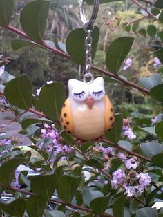 Cold porcelain keychain owl...by Miriam Rivera...