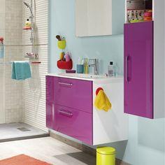 Meuble de salle de bains Happy violet tulipe n°3 81x46 cm, 2 tiroirs