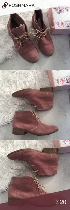Laced up booties Gorgeous booties Pale pink  Excellent conditions Pre loved Pet and smoke free home Mossimo Supply Co. Shoes Ankle Boots & Booties