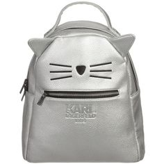 KARL LAGERFELD Kids Girls Silver Synthetic Leather Backpack (32cm) (855 MAD) ❤ liked on Polyvore featuring bags, backpack, cat and girls