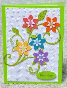 Flower Birthday card made from scraps