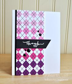 Note To Self: A Gradient Thank You using Lawn Fawn's A Little Argyle, and Avery Elle's Fabulous Florals!
