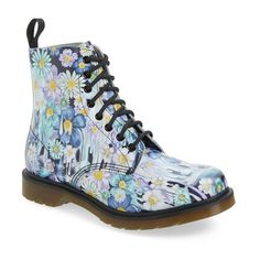 """Dr. Martens 'Pascal' Boot, 1 1/4"""" heel ($150) ❤ liked on Polyvore featuring shoes, boots, ankle booties, ankle boots, purple paint slick leather, leather booties, leather boots, purple ankle boots and lace up platform bootie"""