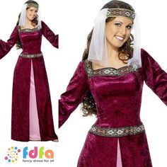 MAID MARION MEDIEVAL ROBIN HOOD DELUXE 8-26 - adults ladies fancy dress costume…