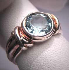 Blue Topaz Ring Vintage Sterling Silver Gemstone