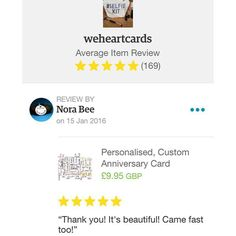 Fab #review #thankful for lovely #customers that take the time to leave feedback #fivestars