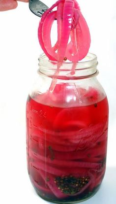Easy Pickled Red Onions --  No boiling , EASY refrigerator pickled red onions that are delicious and dramatic looking!