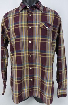 Tommy Bahama Mens L Button Down Shirt Island Modern Fit Burgundy Checked Lyocell #TommyBahama #ButtonFront