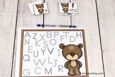 FREE printable Teddy Bear themed letter match and trace activity for pre-k and kindergarten kids. Find the uppercase or lowercase letters and then also trace them on the mat. Great for letter recognition and fine motor skills. Bears Preschool, Free Preschool, Preschool Learning, Preschool Prep, Teaching, Letter Sound Activities, Alphabet Activities, Preschool Activities, Toddler School
