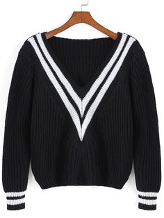 To find out about the Black V Neck Striped Crop Sweater at SHEIN, part of our latest Sweaters ready to shop online today! Black V Neck Sweater, Black Neck, Loose Sweater, Cropped Sweater, Black Sweaters, Long Sleeve Sweater, Pullover Sweaters, Loose Crop Top, Long Sleeve Crop Top