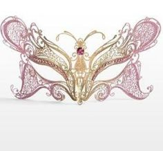 Butterfly mask pink and gold
