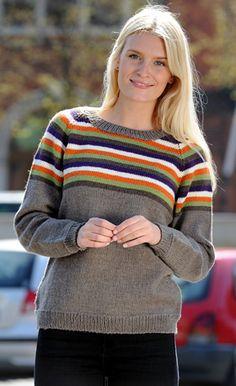 Familie Journal - strikkeopskrifter til hende Raglan, Pullover, Diy Crafts Jewelry, Knit Fashion, Knit Dress, Knitwear, Stripes, Sewing, Knitting
