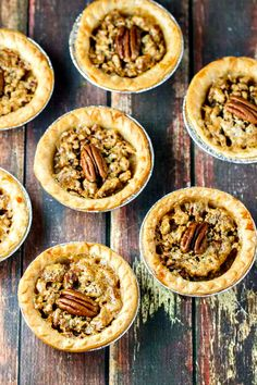 Pecan Butter Tarts - just FIVE ingredients including the tart shells! Like little buttery pecan pies!
