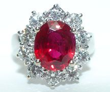 Incredible ruby and diamond Lady Ann ring in platinum.