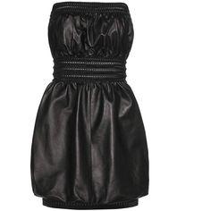 Fendi Leather Mini Dress (£1,695) ❤ liked on Polyvore featuring dresses, black, mini dress, fendi dress, short leather dress, genuine leather dress and leather mini dress