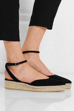 Wedge heel measures approximately 40mm/ 1.5 inches with a 20mm/ 1 inch platform Black suede Buckle-fastening ankle strap Made in Spain