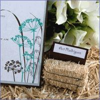 place cards in hay