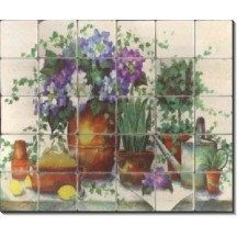 Hydrangeas & Lemons Tile Mural ~ Ceramic Tile ~ FREE SHIPPING ~ Range Backsplash ~Kitchen Tile Art ~Custom Tile Mural ~Decorative Tiles 1123