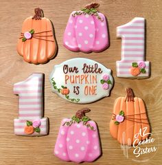 Fall First Birthday, Fall 1st Birthdays, First Birthday Cookies, Pumpkin 1st Birthdays, Pumpkin First Birthday, Fall Birthday Parties, 1st Birthday Party For Girls, 1st Birthday Themes, Birthday Ideas