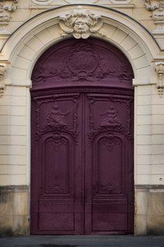 Ornate Intense Purple Door, Paris, France.