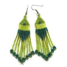 Long Green Seed Bead Earrings  dangle earrings by Anabel27shop,