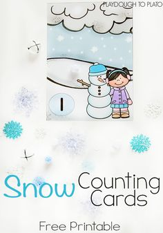 Free snow counting cards for kids! Fun, hands-on preschool math.