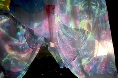 Brainbow Limb Installation Fan, Slide Projector, Silk Oraganza Wings
