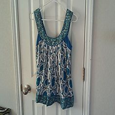 Hippie chic tank Loose fitting in beautiful blues and green, Ric Rac from Anthropology. Anthropologie Tops Tank Tops
