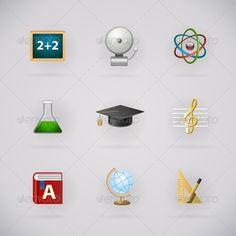 Education Pictogram Icons Set - Web Elements Vectors