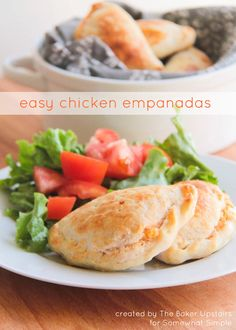 Hello again Somewhat Simple readers! I have such a delicious recipe to share today. These easy chicken empanadas are fantastic, and so simple and quick to make too! They make a perfect snack or light dinner with a little salad. I think they would be an awesome addition to your Cinco de Mayo party next week, or a hit at